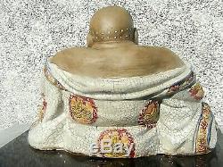 Chinois Rire Bouddha Shiwan Crackle Glaze Grand