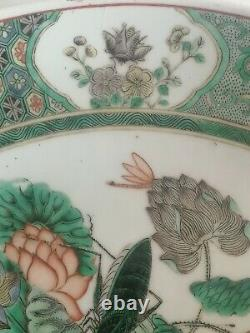 Chinois Very Large Plate Dish Famille Verte Family Green Guangxu Period Mark