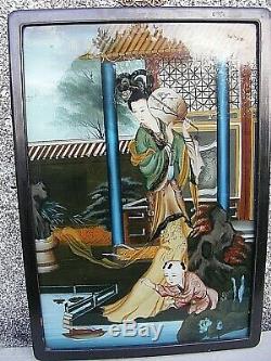 Chinoise Inversée Panneau De Verre Peint Image Grand