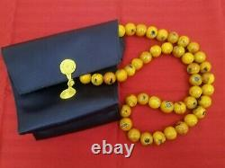 Collier Tibétain Chinois Vintage Chinese Butterscotch Amber Large Beads Chunky