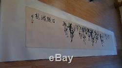 Début 20c Grand Aquarelle Chinois Défilement Troupeau De Chevaux, Artiste Signe Et Sceau