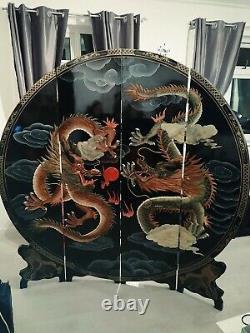 Diviseur Chinois Chinois De Pièce D'écran De Laque Noire Avec Des Dragons Lourds Et Grands