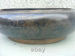 Dragon De Cloisonne De Chine Antique Signé 4 Caractères Marque Grand