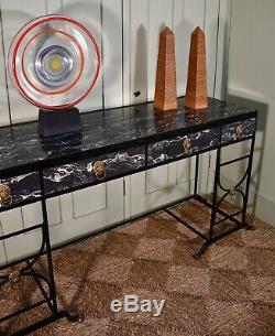 Elégant Grande Moyenne 20 C Style Régence Faux Marbre Fer Side Console Table Salle