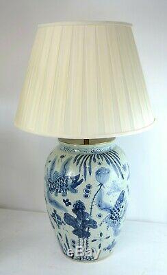 Exceptionnelle Grande Paire De Lampes En Céramique Vase Chinois Avec Des Bases En Bois Gild