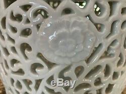 Exceptionnelle Grande Percée Chinoise Blanc De Chine Pot Couvert Foré Pour Lampe