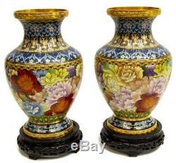 Exceptionnelle Paire De Très Grande Taille Vintage Colorés Cloisonnée Vases Avec Des Stands