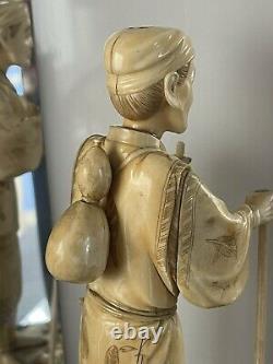 Fabuleux Grand 19ème Siècle Sculpté Chinois Oriental Figurine Masculine
