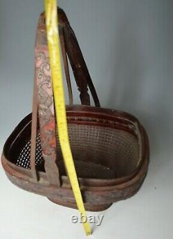 Fin Grand Panier De Fleur De Laque Chinois Antique De Bambou De Forme