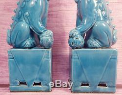 Foo Chiens Chinois Bleu Turquoise Céramique Grand 10 Pouces Statues Vintage Asiatiques Paire