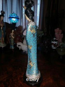 Grand 13antique Bronze Chinois Cloisonné Figurine Femme Maiden Quan Yin