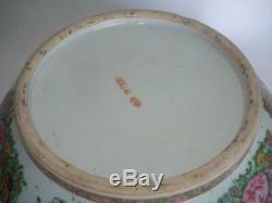 Grand 14,5 Antique Chinois D'exportation De Porcelaine Punch Bowl Famille Rose 1890