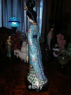 Grand 15antique Bronze Chinois Cloisonné Figurine Femme Maiden Quan Yin