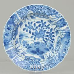 Grand 1680-1700 Kangxi Période Kraak Revival Klapmuts Bleu Blanc Plat Rare Qing