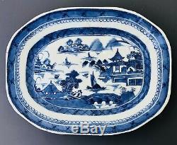 Grand 18 Antique Chinois C Bleu Et Blanc Platter Plaque À Base De Viande Canton