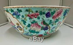 Grand 18 E Siècle Chinois Bol En Porcelaine Vers 1765 Qianlong Période