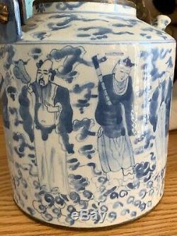 Grand 18c Chinois Qing Guangxu Bleu-blanc Porcelaine Teapot W Bronze Rim