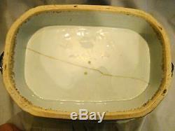 Grand 18ème Siècle Antique Export Octogonal Nanking Chinois Couvert Soupière
