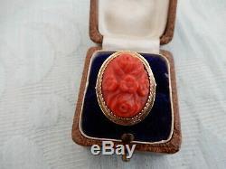 Grand 19ème Siècle 9ct Or Rouge Sculpté Anneau De Corail Dames Chinois, Lot Immobilier