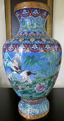Grand 20 Vase Cloisonné Cranes Motif Floral Asie Orientale