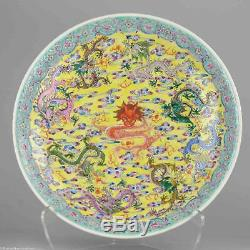Grand! 40.5cm Proc 1950-60 Dragons Chargeur Porcelaine Chinoise Marqués