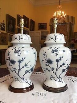 Grand 43cm Grand Bleu Blanc Paire Prunus Fleur Chinois Vase Couvert Lampes De Table