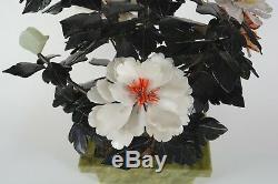 Grand 44cm Vintage Chinois Hardstone Ou Un Arbre Jade Planteur