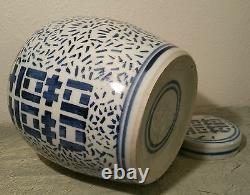 Grand 9.5 Vase Antique Chinois De Pot De Gingembre De Porcelaine Vtg Bleu Et Blanc