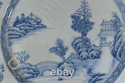 Grand Antique 14 Chinese Qianglong Export Porcelaine Plaque De Chargeur Bleu Et Blanc