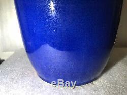 Grand Antique 19ème C. Chinois Vase Bleu Glacé Porcelaine Marqué