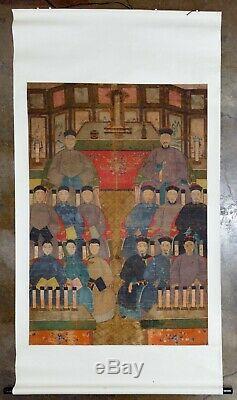 Grand Antique Ancêtre Chinois Portrait Peinture Sur Rouleau De Tissu, 19ème Siècle