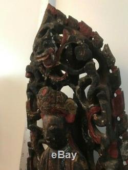 Grand Antique Asiatique / Chinoise / Oriental Bouddha En Bois Statue / Sculpture