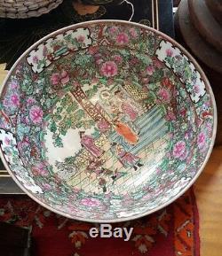 Grand Antique Bol En Céramique Chinoise Famille Rose
