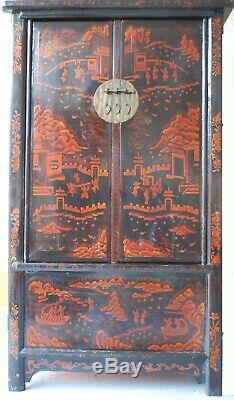 Grand Antique Cabinet Noir Et Orange Chinois Avec Des Peintures Originales C. 1910