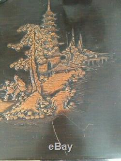 Grand Antique Camphor Bois Sculpté Coffre Délicieusement / Trunk Collection Seulement