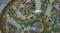 Grand Antique Canton Chinese Famille Médaillon Rose Punch Bowl