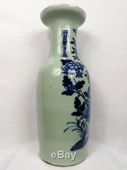 Grand Antique Céladon Chinois Vase De Terre Avec Des Fleurs Et Des Oiseaux // 19ème Siècle