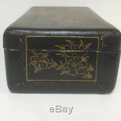 Grand Antique Chinese Box Laqué Comme Objets De Valeur