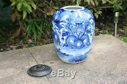 Grand Antique Chinois En Porcelaine Bleu Et Blanc Paysage Photo Pot Vase Avec Couvercle