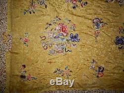 Grand Antique Chinois En Soie Brodé Main Art Textile Panneau Mural Suspendu