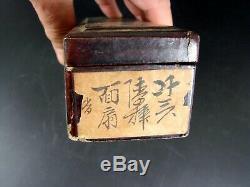Grand Antique Chinois Fan Export 1000 Faces & Original Lacquer Box Canton 1850