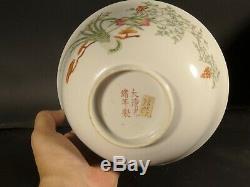 Grand Antique Chinois Guangxu Bol En Porcelaine Pristine Condition