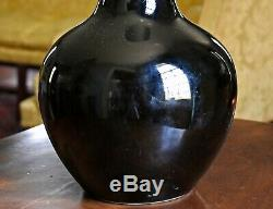 Grand Antique Chinois Kangxi Mark & période Miroir Noir Glacé Tianquiping Vase