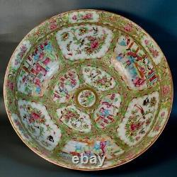 Grand Antique Chinois Punch Bowl Export Porcelaine Canton Médaillon Rose 19ème C
