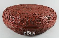 Grand Antique Chinois Qianlong Mark Cinnabar Laque Imperial Dragons Box