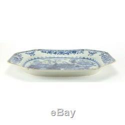Grand Antique Chinois Qianlong Porcelaine Bleue Et Blanche Viande Platter Circa 1770