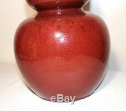 Grand Antique Chinois Sang De Beouf Rouge Sang De Bœuf Gourde Vase En Porcelaine En Forme