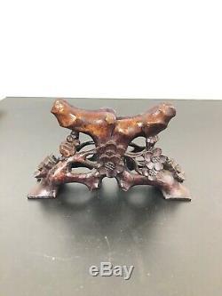 Grand Antique Chinois Sculpté Nacre Intricate Sculpture Et Support