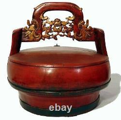 Grand Antique Chinois Sculpté Or Rouge Laque Panier De Mariage Dragons Bats Box