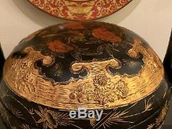 Grand Antique Chinois Straits Peranakan Gilt Peint À La Main Panier De Mariage